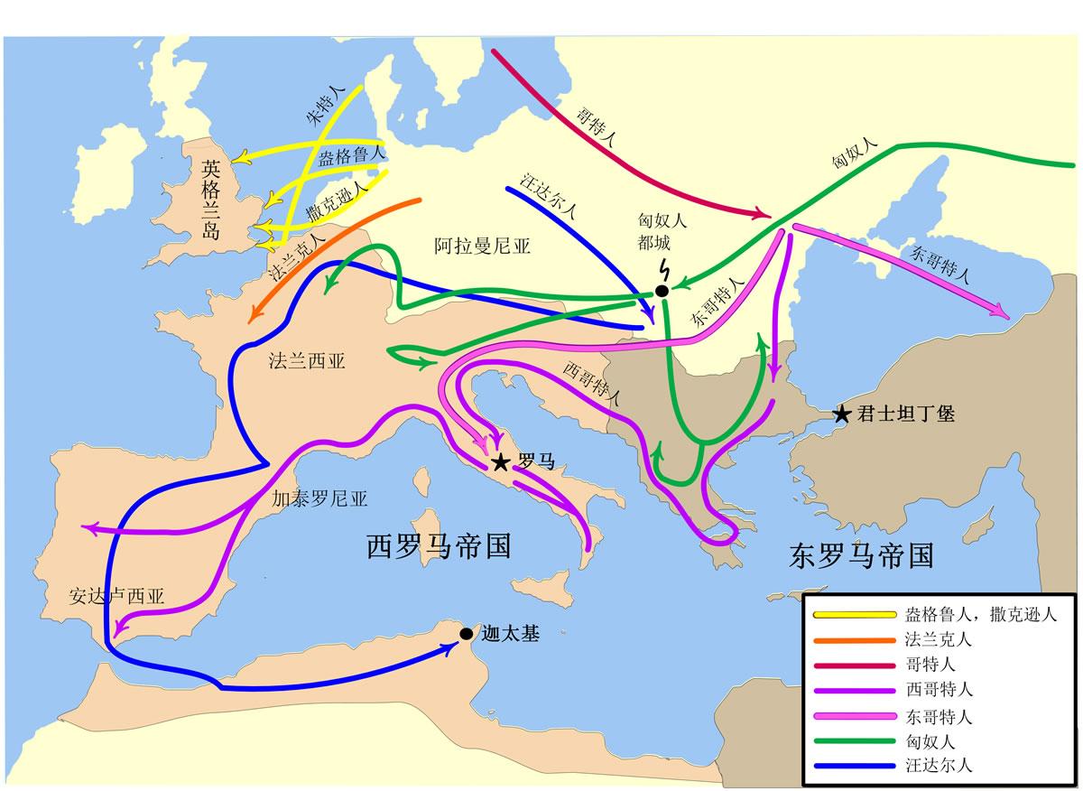 图1-2 罗马帝国内的民族大迁徙